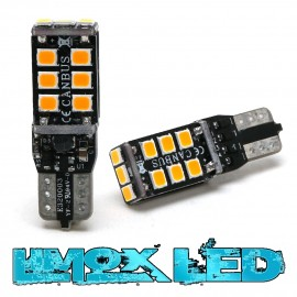 LED Glassockel T10 WY5W W2,1x9,5d 15x 2835 SMD Orange T10 Canbus